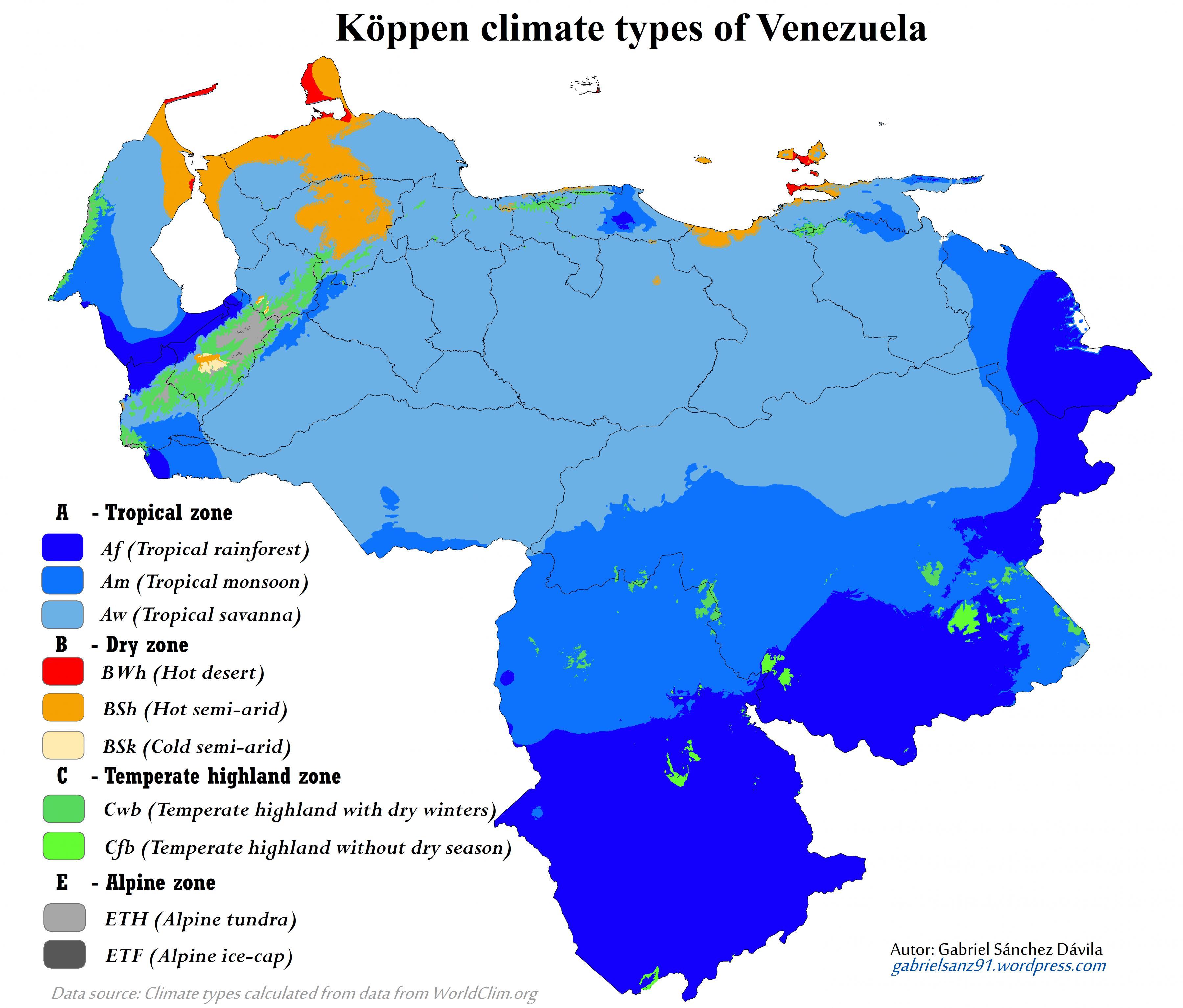 Venezuela Eghajlati Terkep Terkep Venezuela Klima Del Amerika